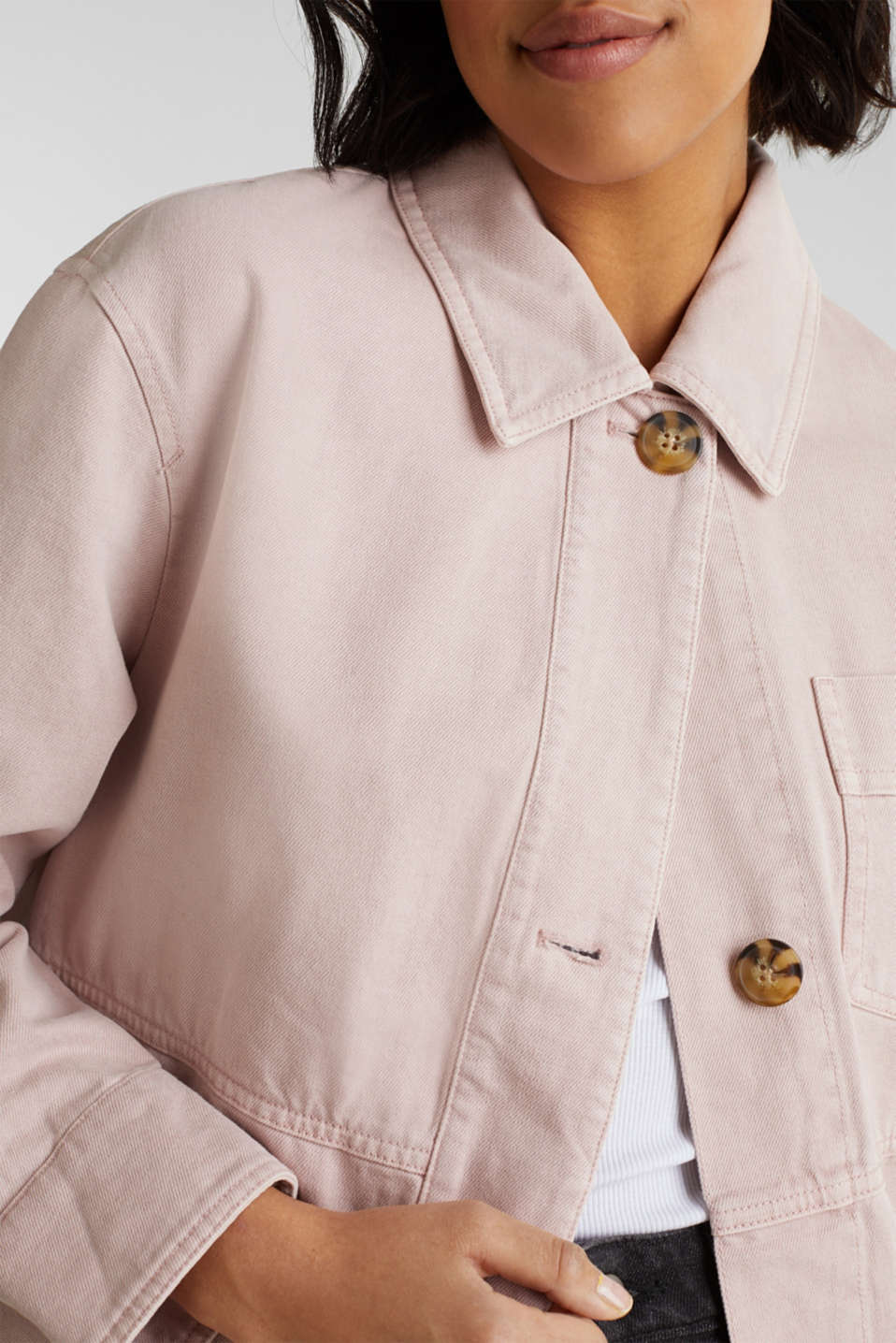 Worker jacket with pockets, 100% cotton, BLUSH, detail image number 2