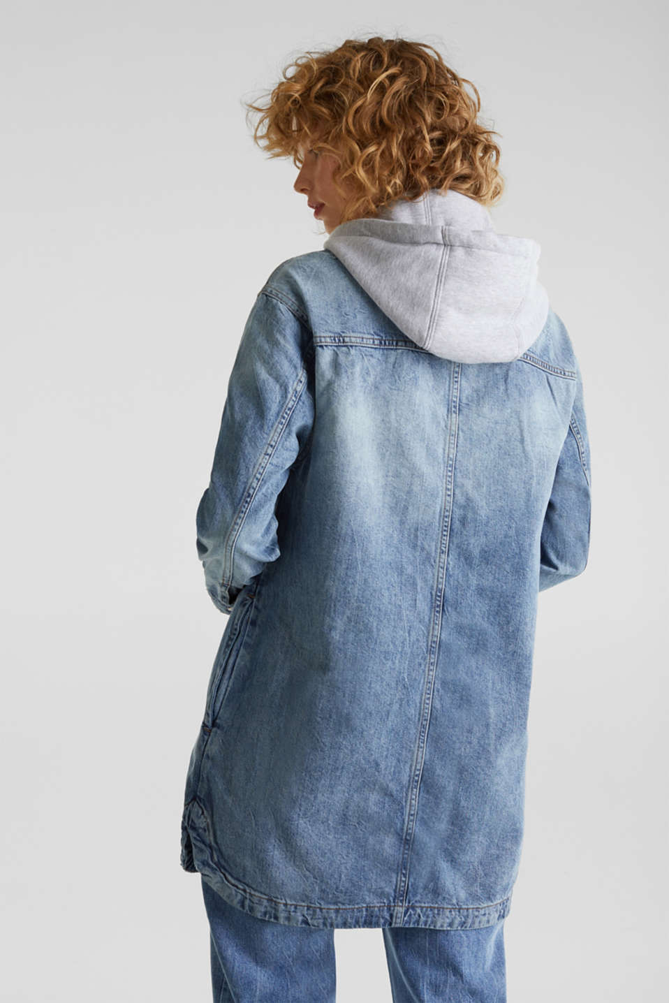 Jacket with a button-off hood, 100% cotton, BLUE LIGHT WASH, detail image number 3