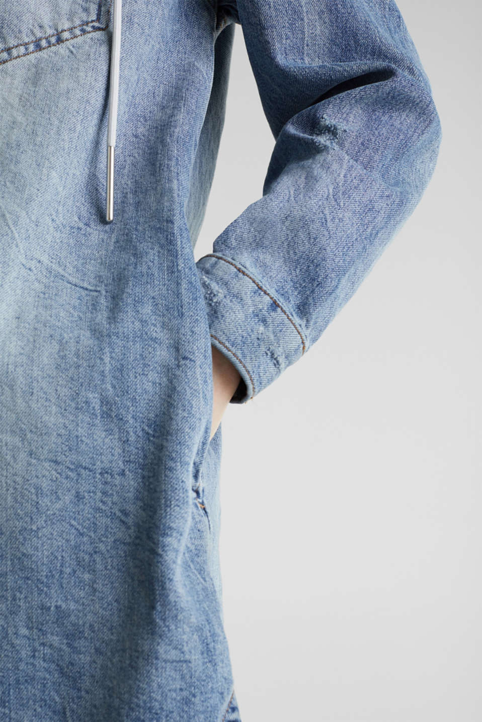 Jacket with a button-off hood, 100% cotton, BLUE LIGHT WASH, detail image number 5