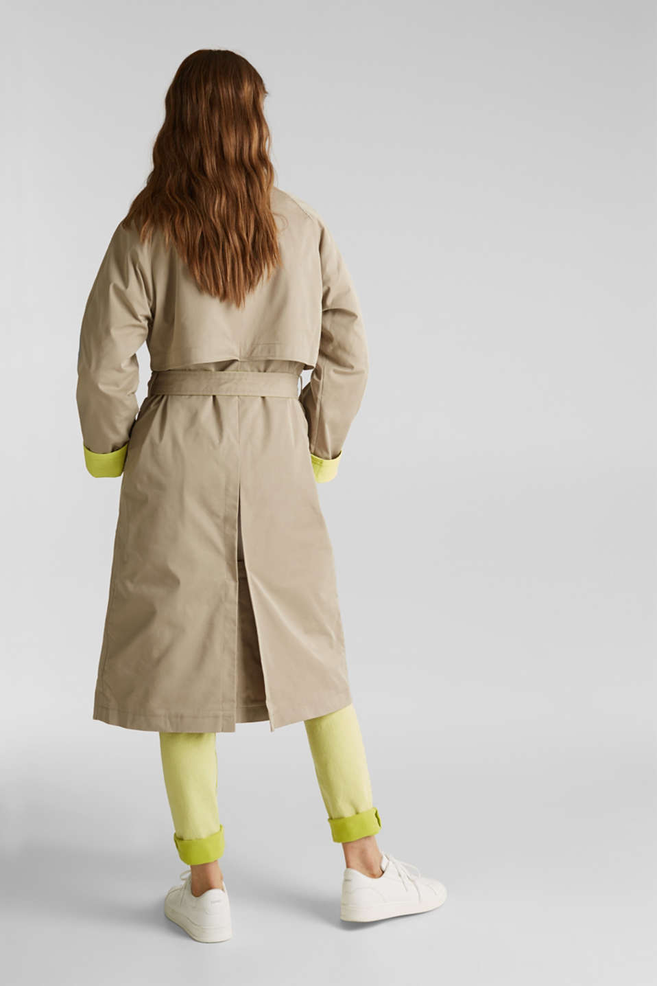 Trench coat with neon details, BEIGE, detail image number 3