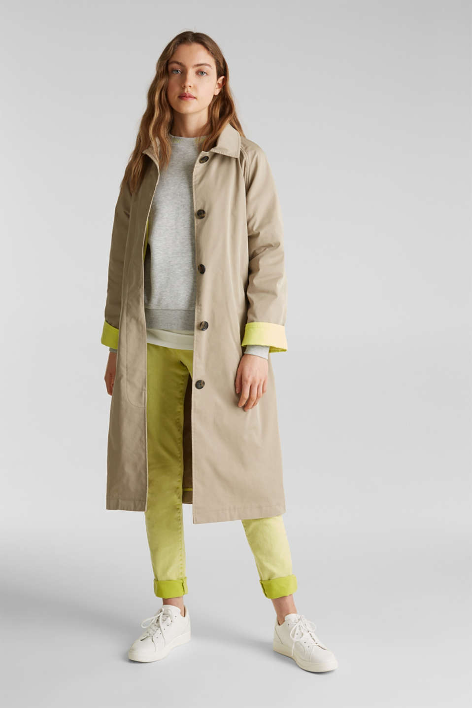 Trench coat with neon details, BEIGE, detail image number 1