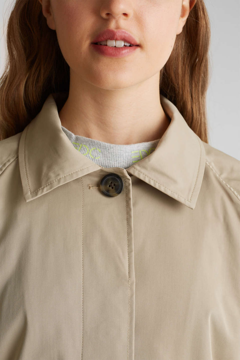 Trench coat with neon details, BEIGE, detail image number 2