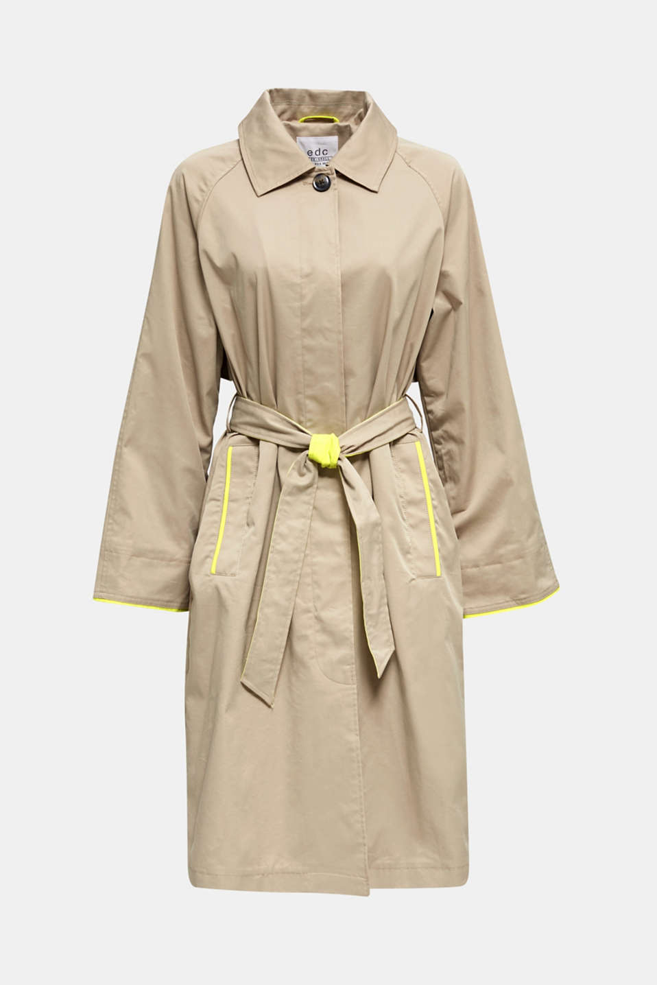 Trench coat with neon details, BEIGE, detail image number 6