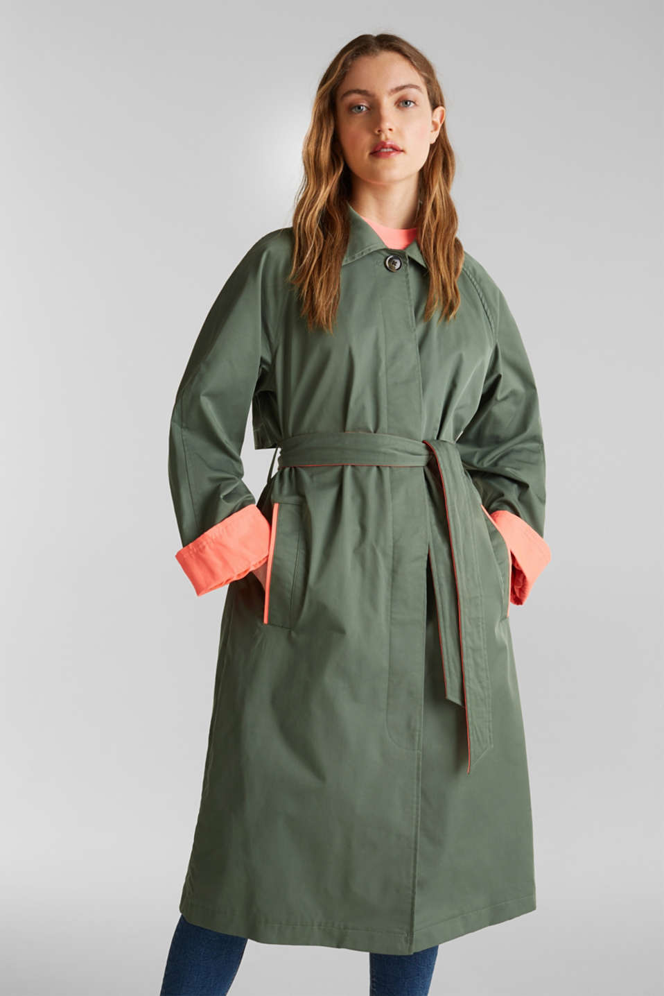 Trench coat with neon details, KHAKI GREEN, detail image number 0