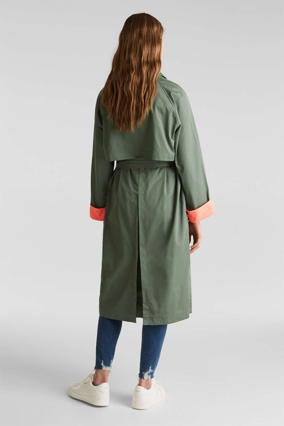 Trench coat with neon details, KHAKI GREEN, detail image number 2