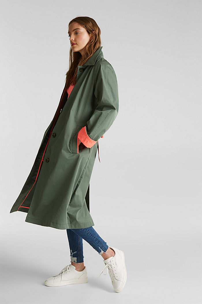 Trench coat with neon details, KHAKI GREEN, detail image number 3
