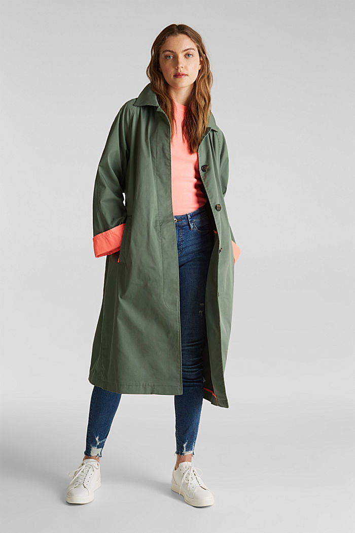 Trench coat with neon details, KHAKI GREEN, detail image number 1