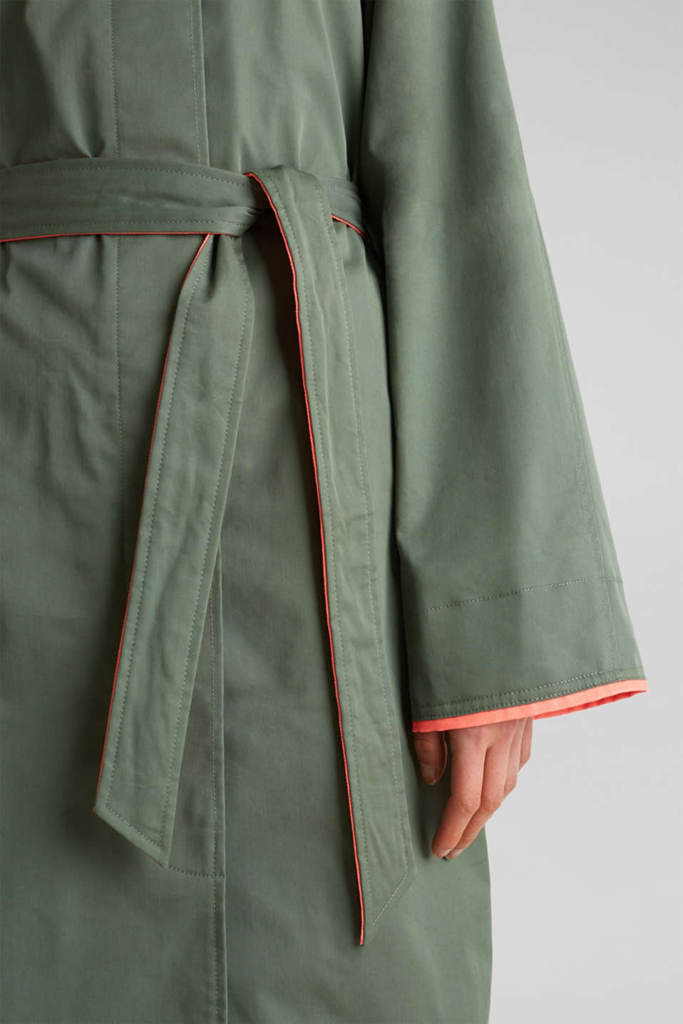 Trench coat with neon details, KHAKI GREEN, detail image number 4
