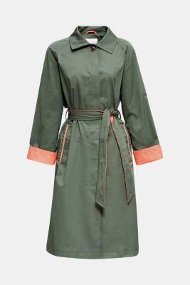 Trench coat with neon details, KHAKI GREEN, detail