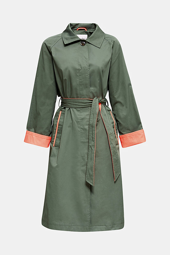 Trench coat with neon details, KHAKI GREEN, detail image number 5