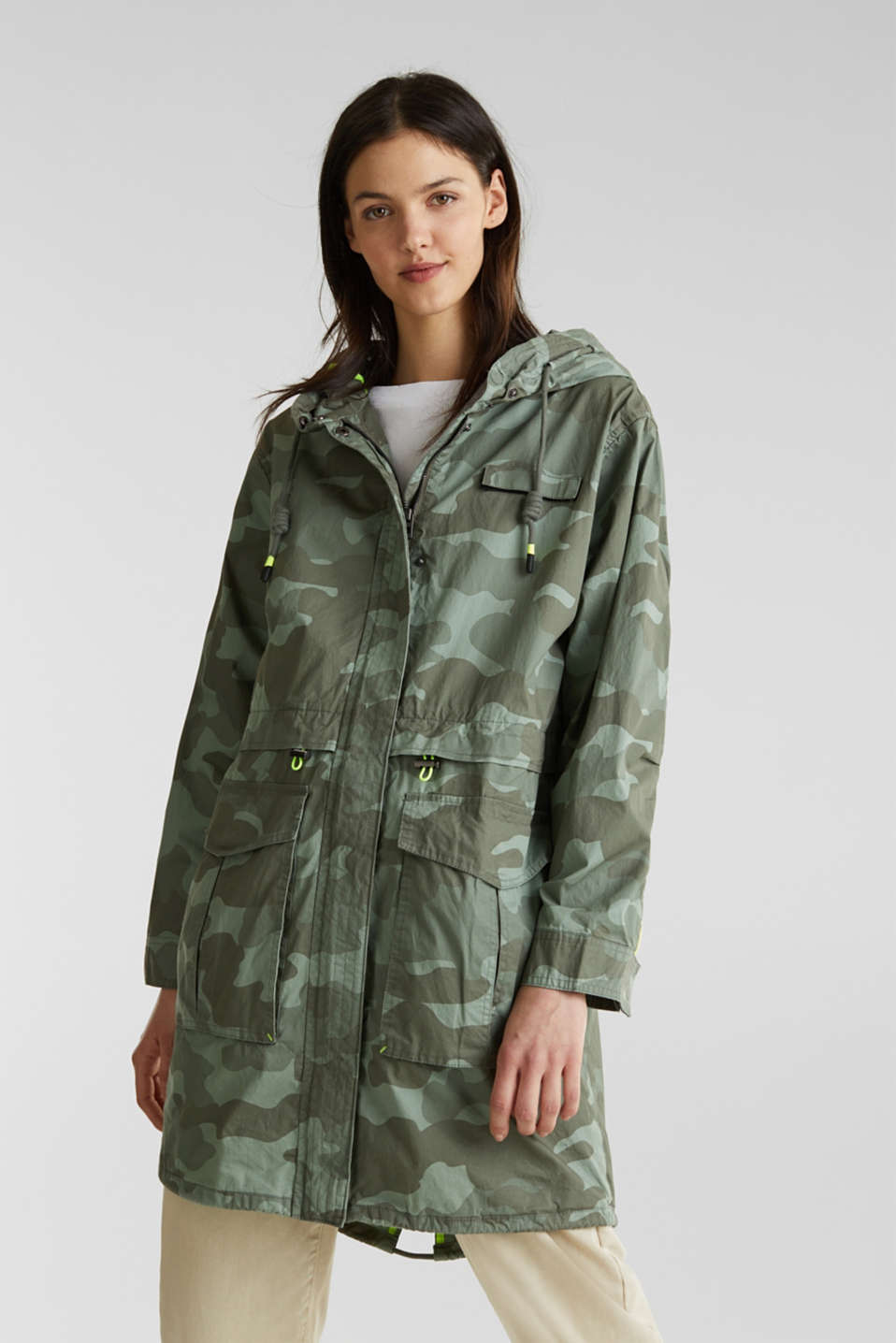 edc - Cotton parka with camouflage print