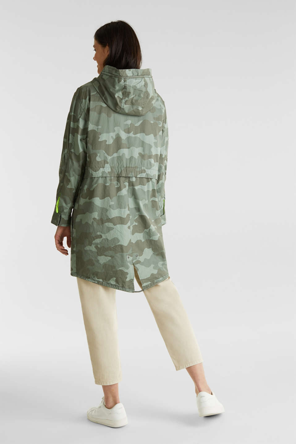 Cotton parka with camouflage print, KHAKI GREEN 4, detail image number 3