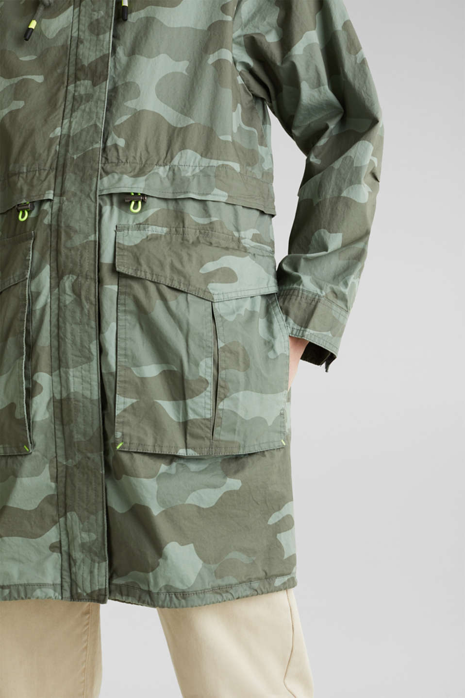 Cotton parka with camouflage print, KHAKI GREEN 4, detail image number 2