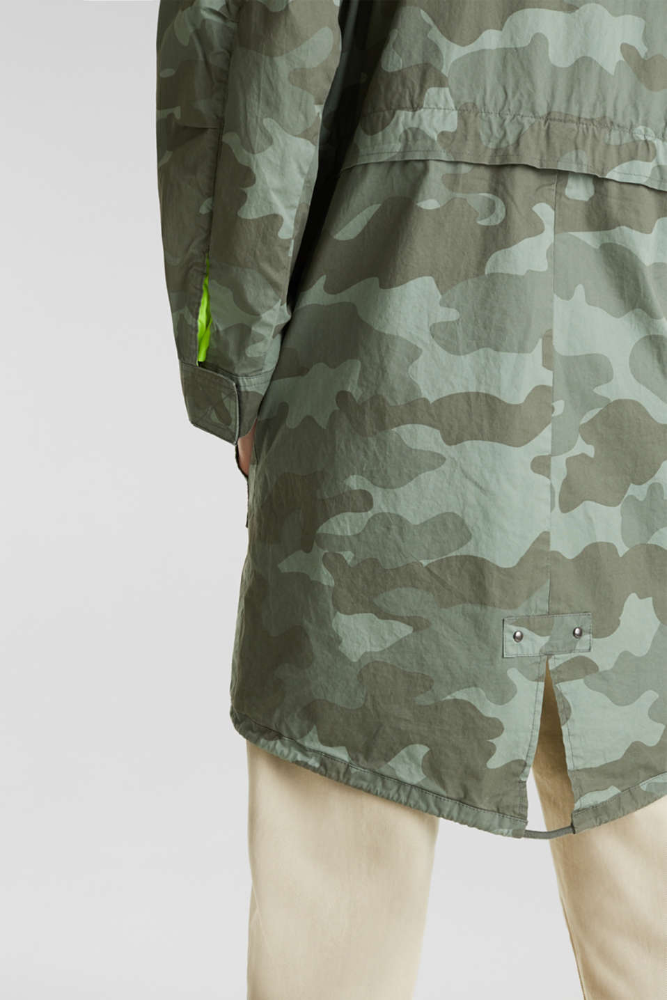 Cotton parka with camouflage print, KHAKI GREEN 4, detail image number 5