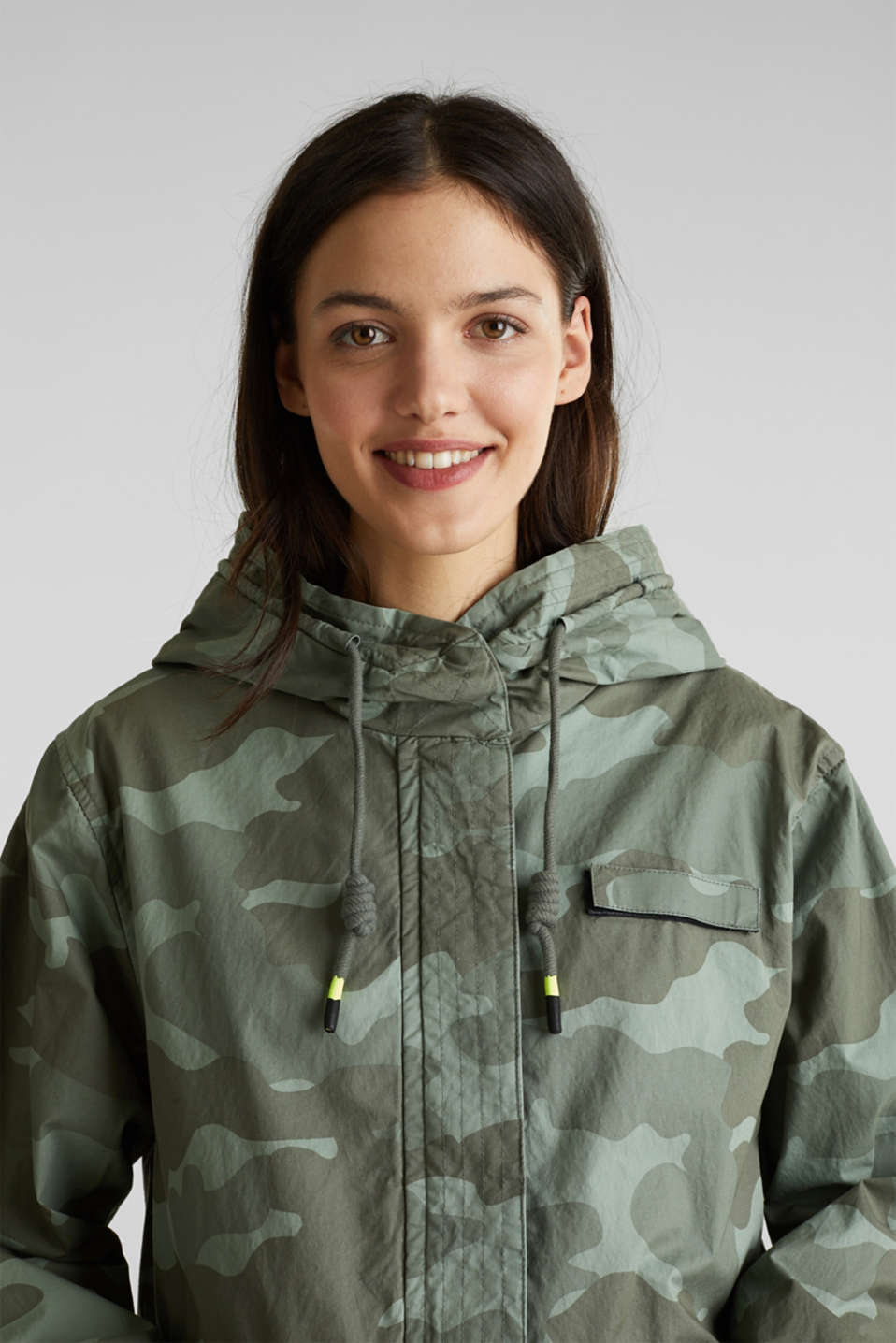 Cotton parka with camouflage print, KHAKI GREEN 4, detail image number 7