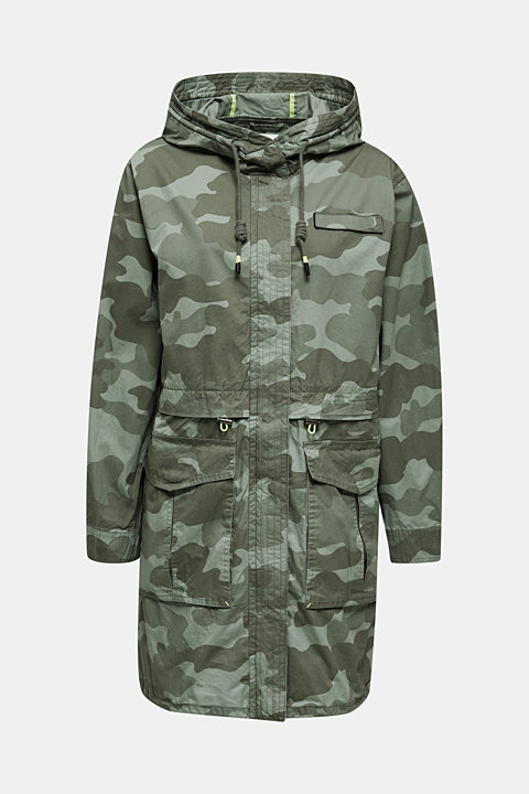 Cotton parka with a print