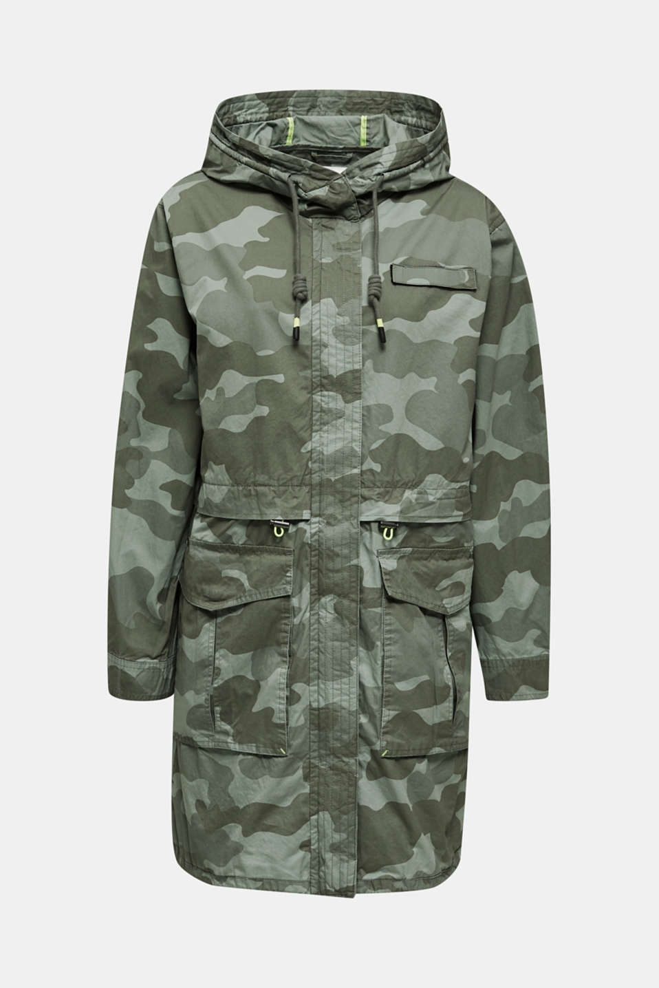 Cotton parka with camouflage print, KHAKI GREEN 4, detail image number 8
