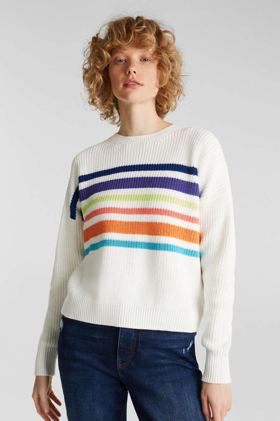 Boxy ribbed jumper, OFF WHITE 2, detail image number 0
