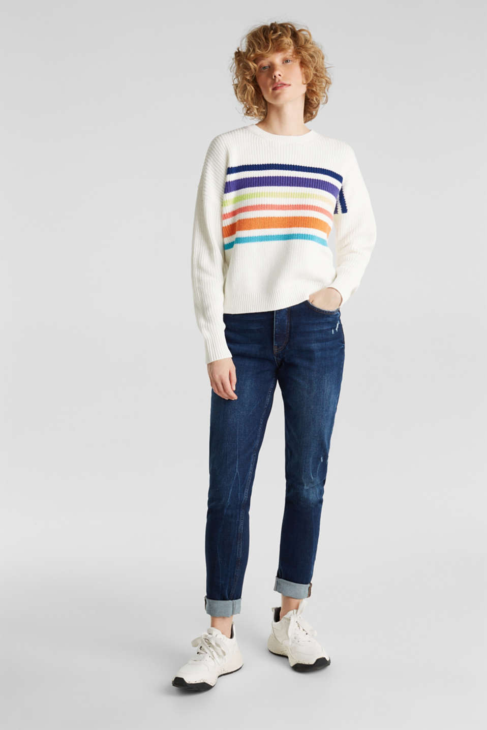 Boxy ribbed jumper, OFF WHITE 2, detail image number 1