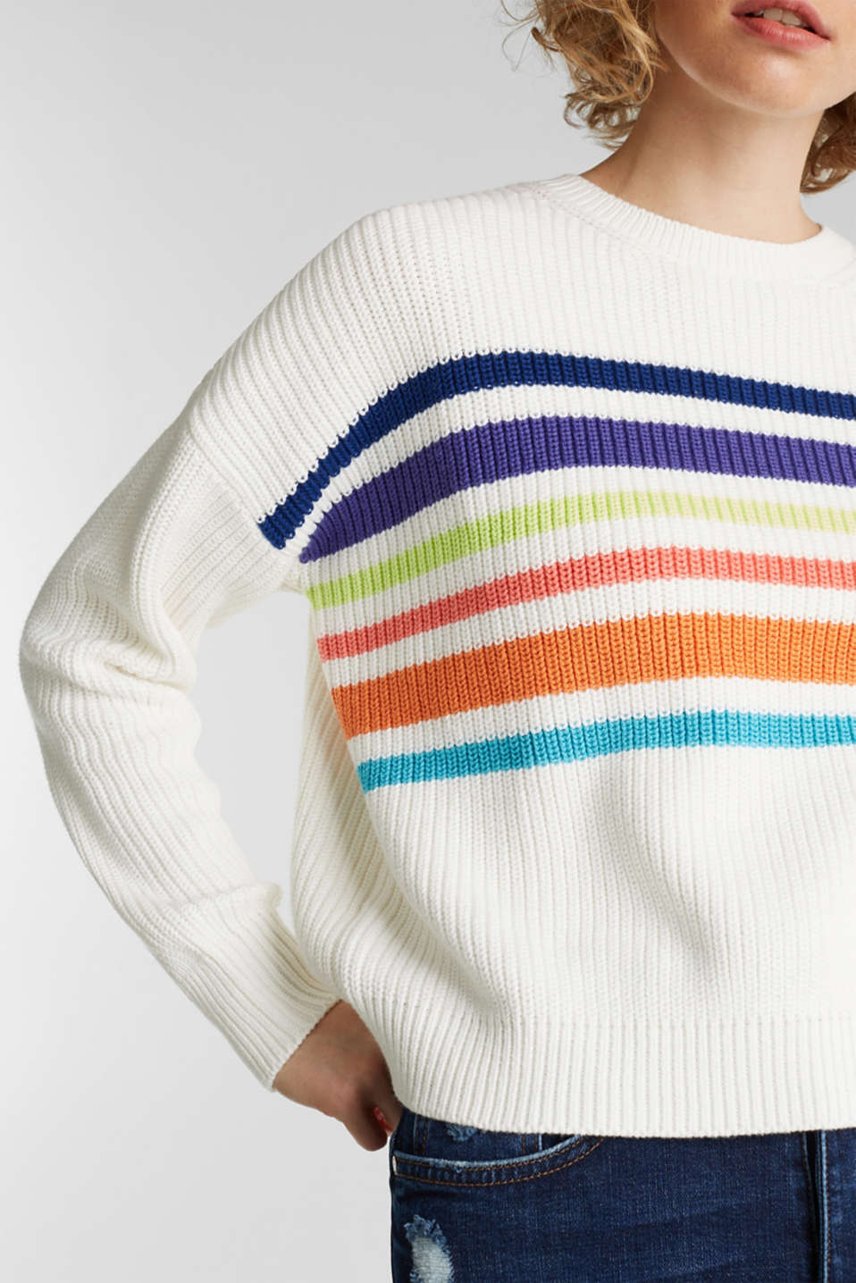 Boxy ribbed jumper, OFF WHITE 2, detail image number 2