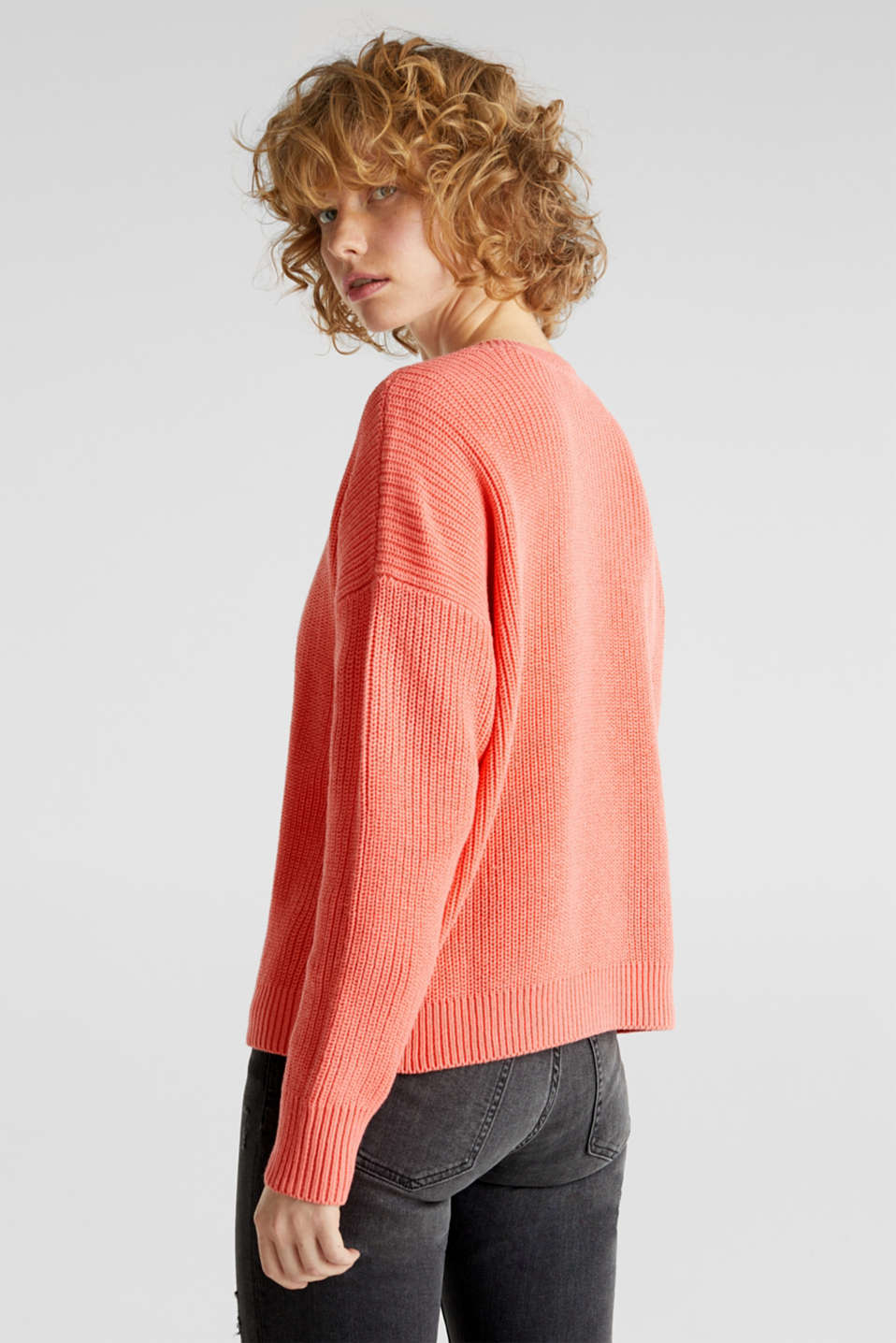 Boxy ribbed jumper, CORAL, detail image number 3