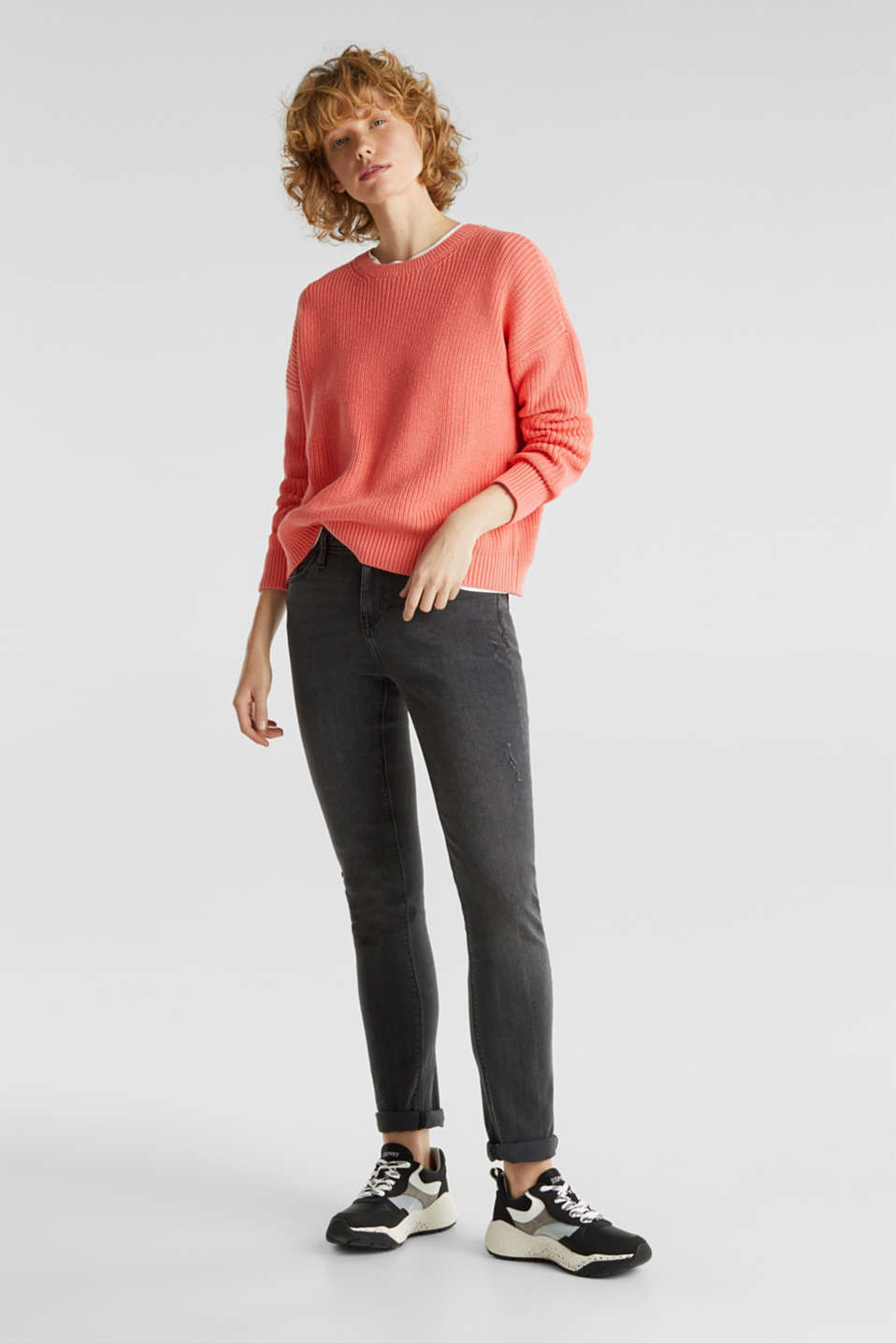 Boxy ribbed jumper, CORAL, detail image number 1
