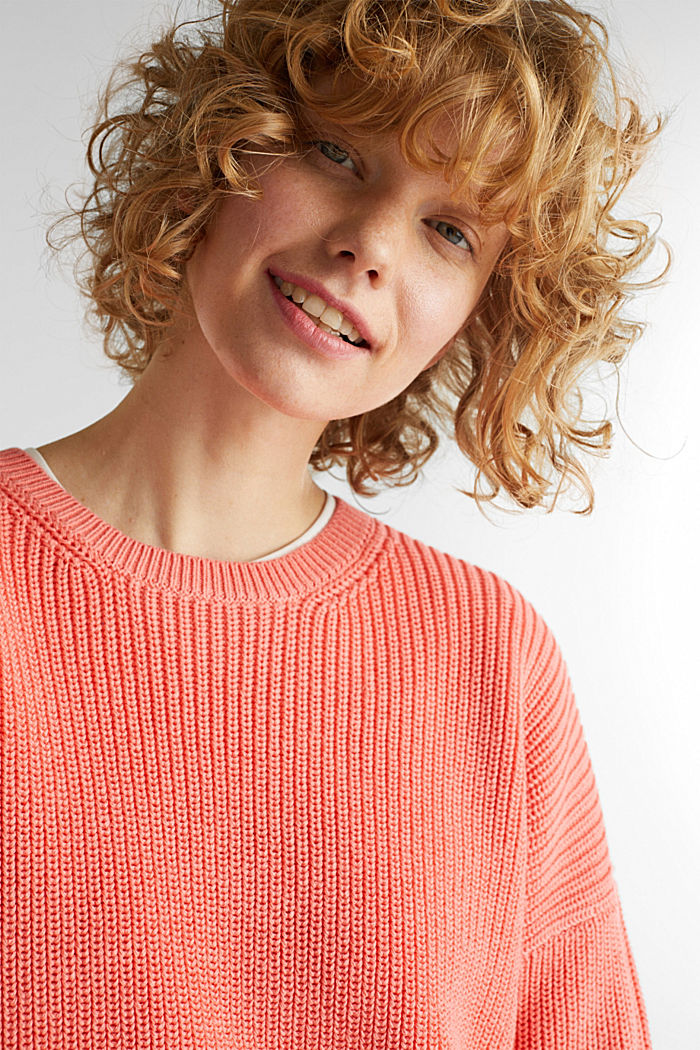 Boxy ribbed jumper, CORAL, detail image number 2