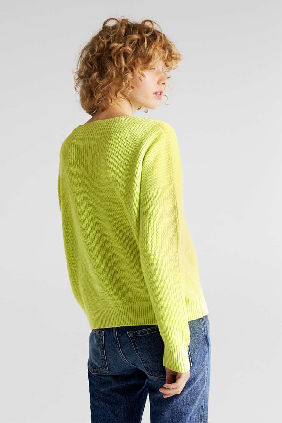 Boxy ribbed jumper, LIME YELLOW, detail image number 3