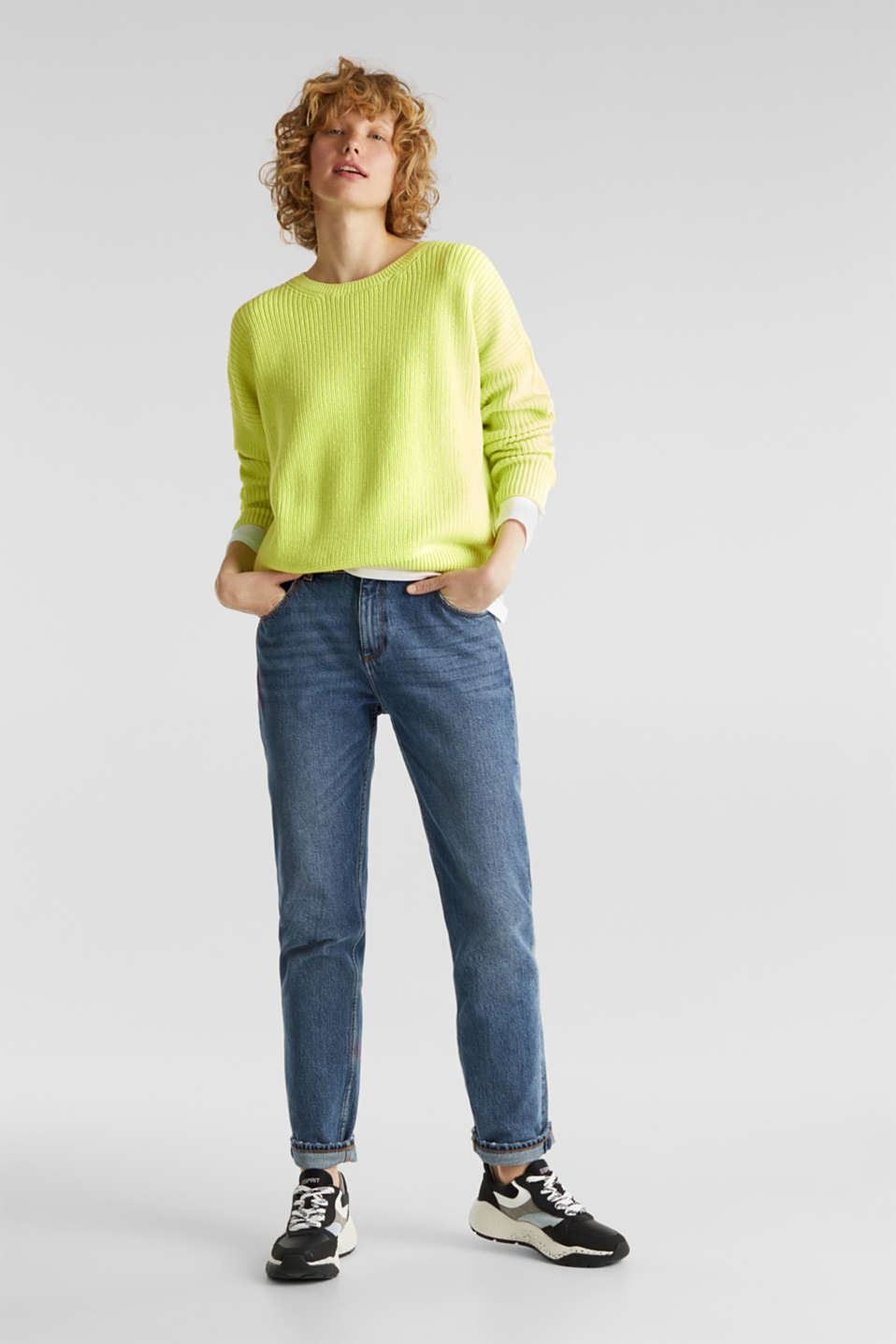 Boxy ribbed jumper, LIME YELLOW, detail image number 1