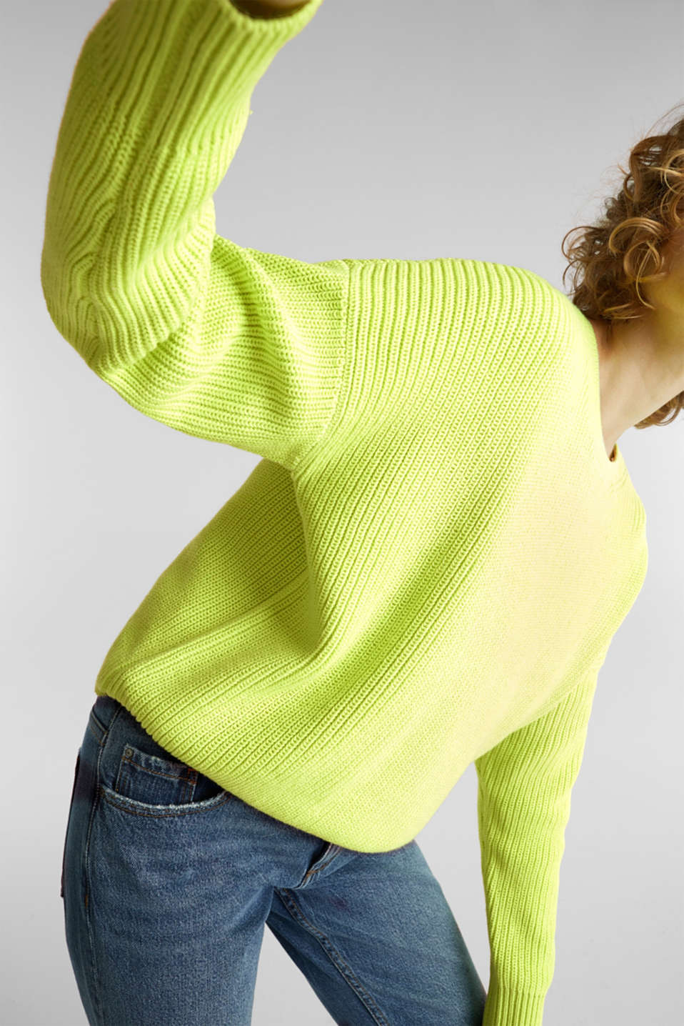 Boxy ribbed jumper, LIME YELLOW, detail image number 2