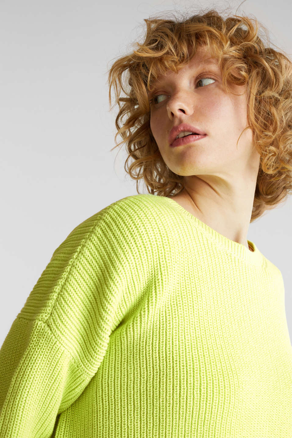 Boxy ribbed jumper, LIME YELLOW, detail image number 5