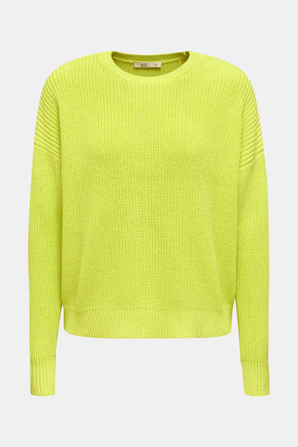 Boxy ribbed jumper, LIME YELLOW, detail image number 6