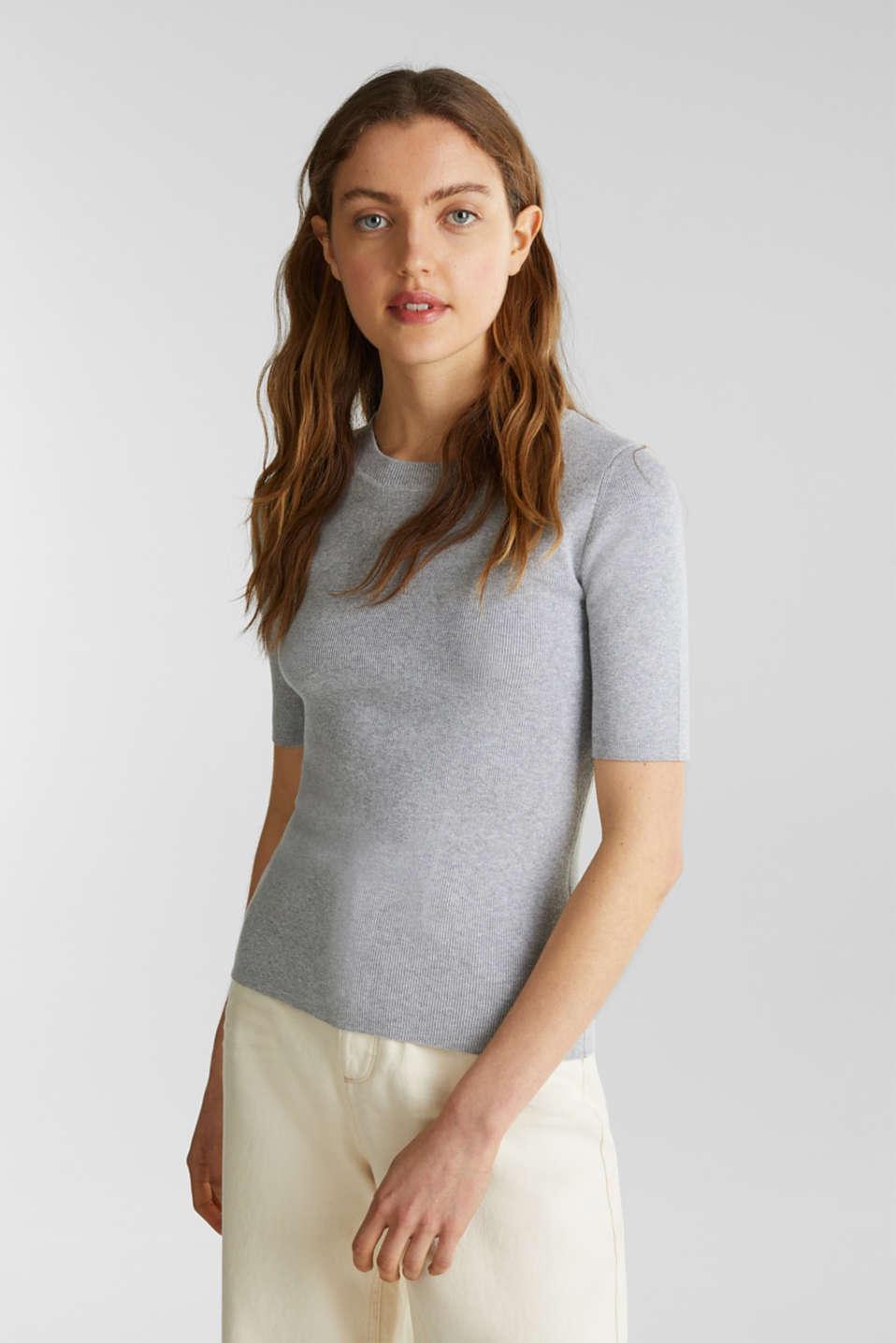 Short-sleeved jumper in blended cotton, LIGHT GREY 5, detail image number 0