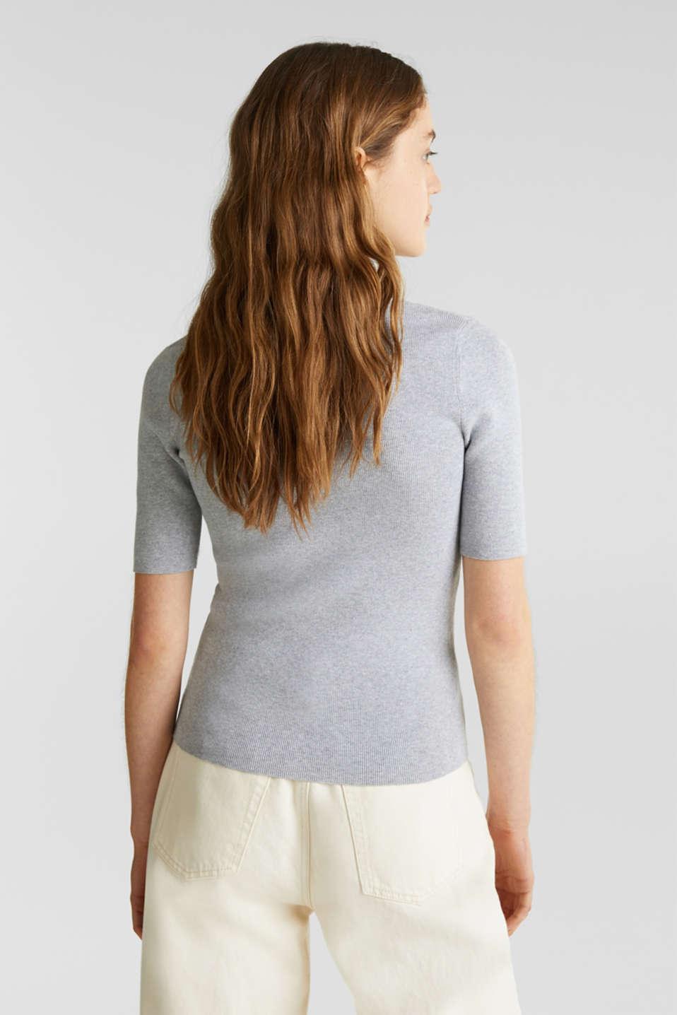 Short-sleeved jumper in blended cotton, LIGHT GREY 5, detail image number 3