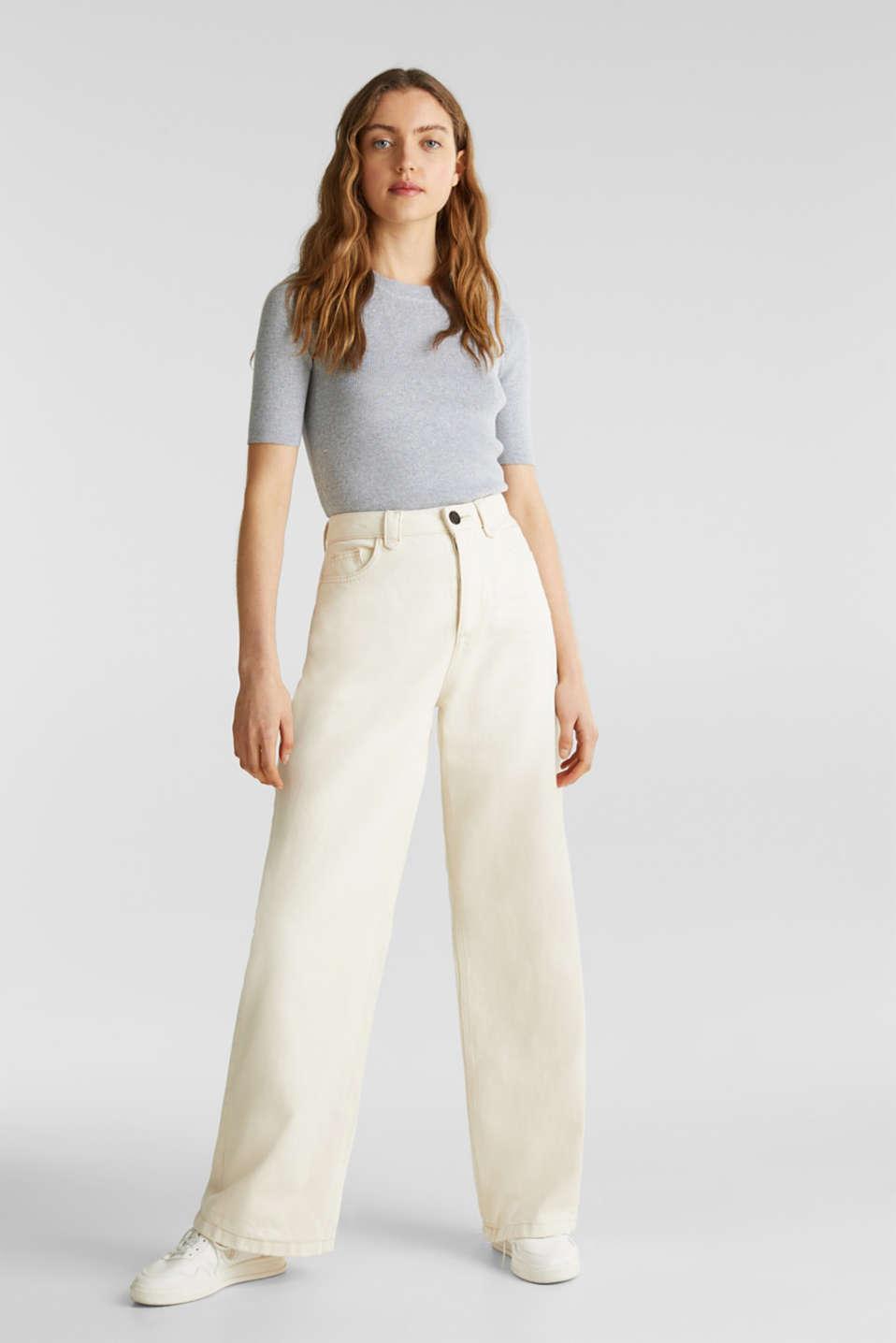 Short-sleeved jumper in blended cotton, LIGHT GREY 5, detail image number 1
