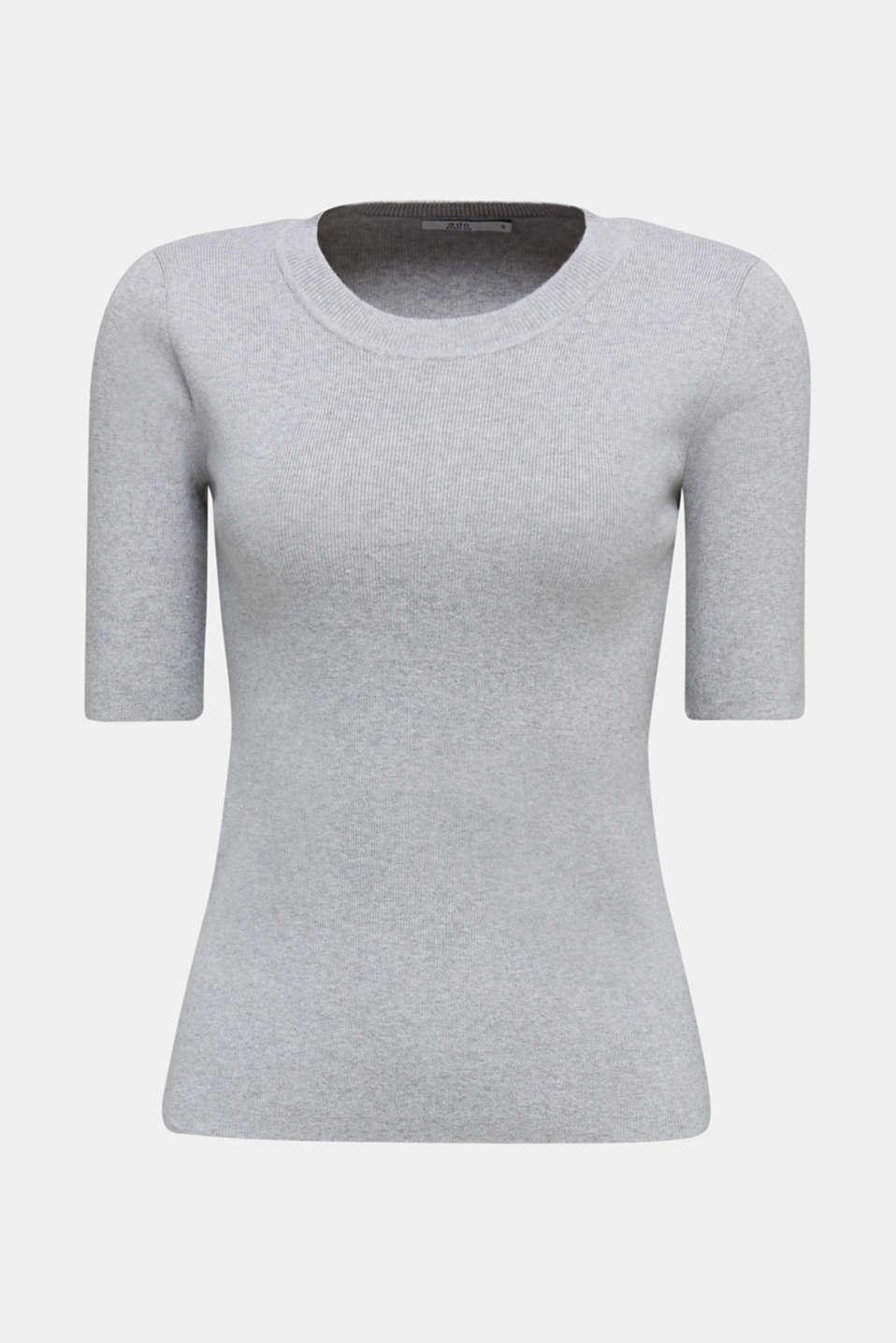 Short-sleeved jumper in blended cotton, LIGHT GREY 5, detail image number 5