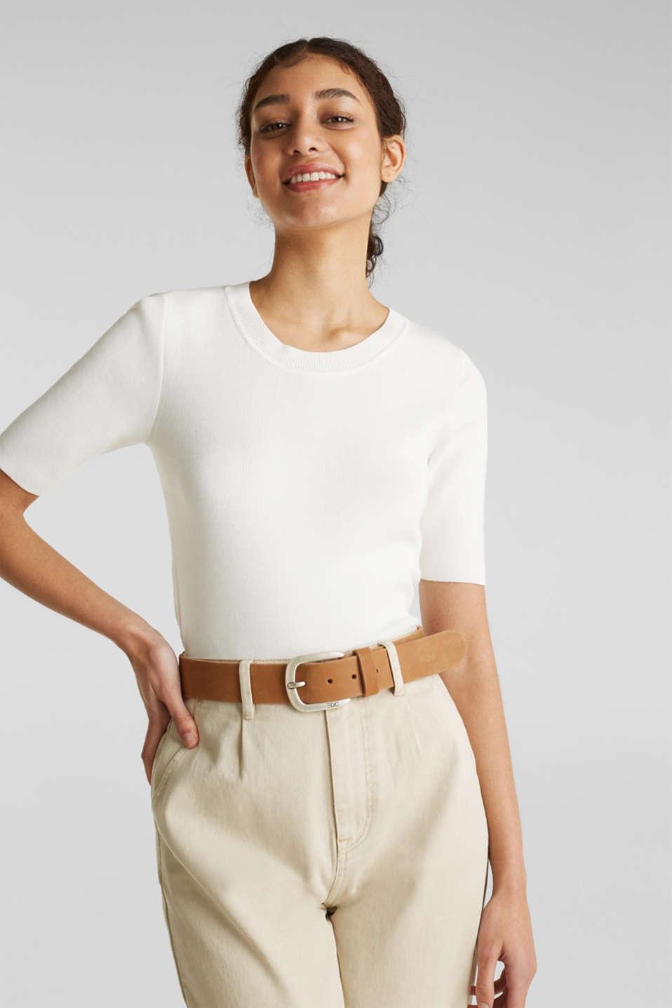 Short-sleeved jumper in blended cotton, OFF WHITE, detail image number 0