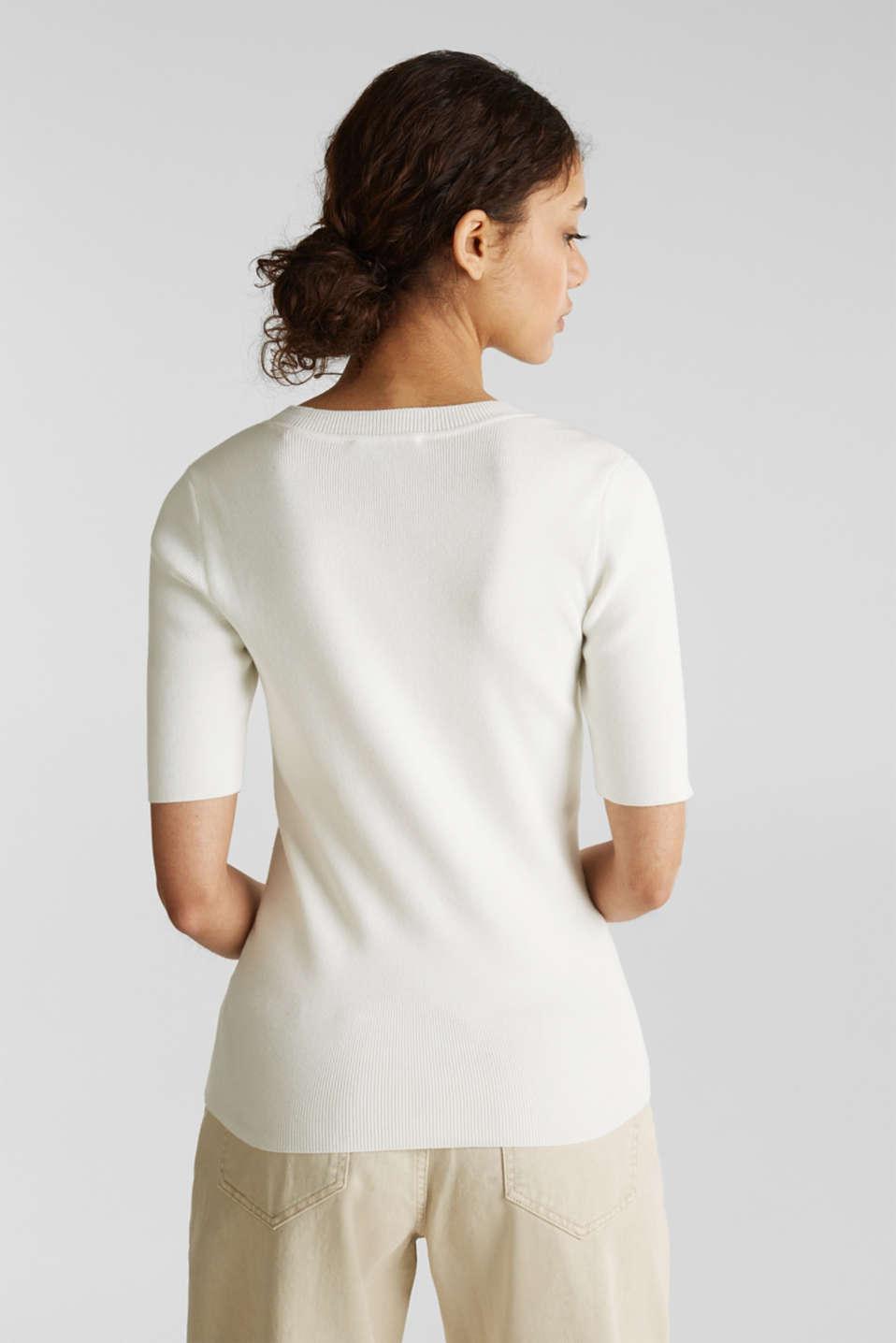 Short-sleeved jumper in blended cotton, OFF WHITE, detail image number 3