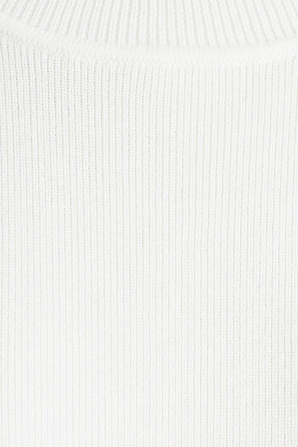 Short-sleeved jumper in blended cotton, OFF WHITE, detail image number 4