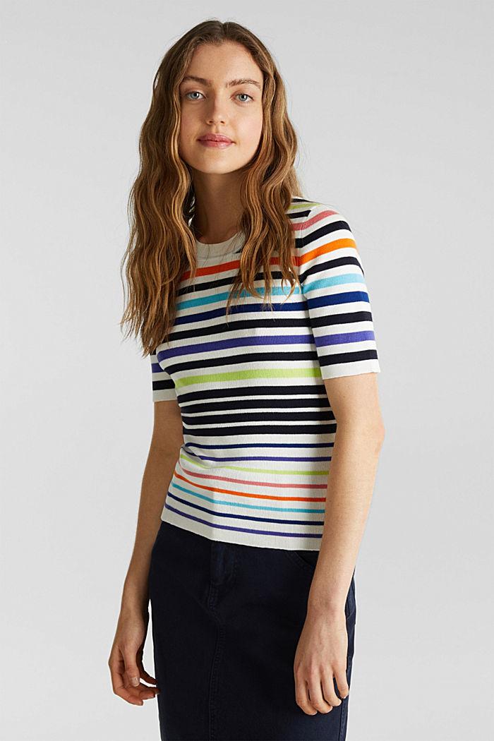 Short-sleeved jumper in blended cotton, NEW OFF WHITE, detail image number 0
