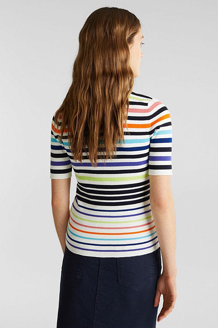 Short-sleeved jumper in blended cotton, NEW OFF WHITE, detail image number 2