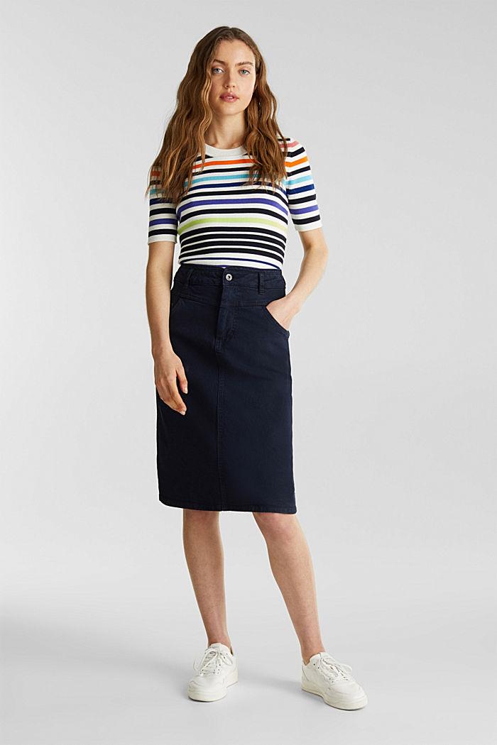 Short-sleeved jumper in blended cotton, NEW OFF WHITE, detail image number 1