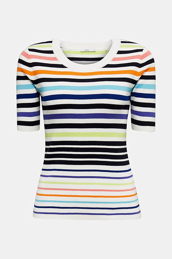 Short-sleeved jumper in blended cotton, NEW OFF WHITE, detail image number 6
