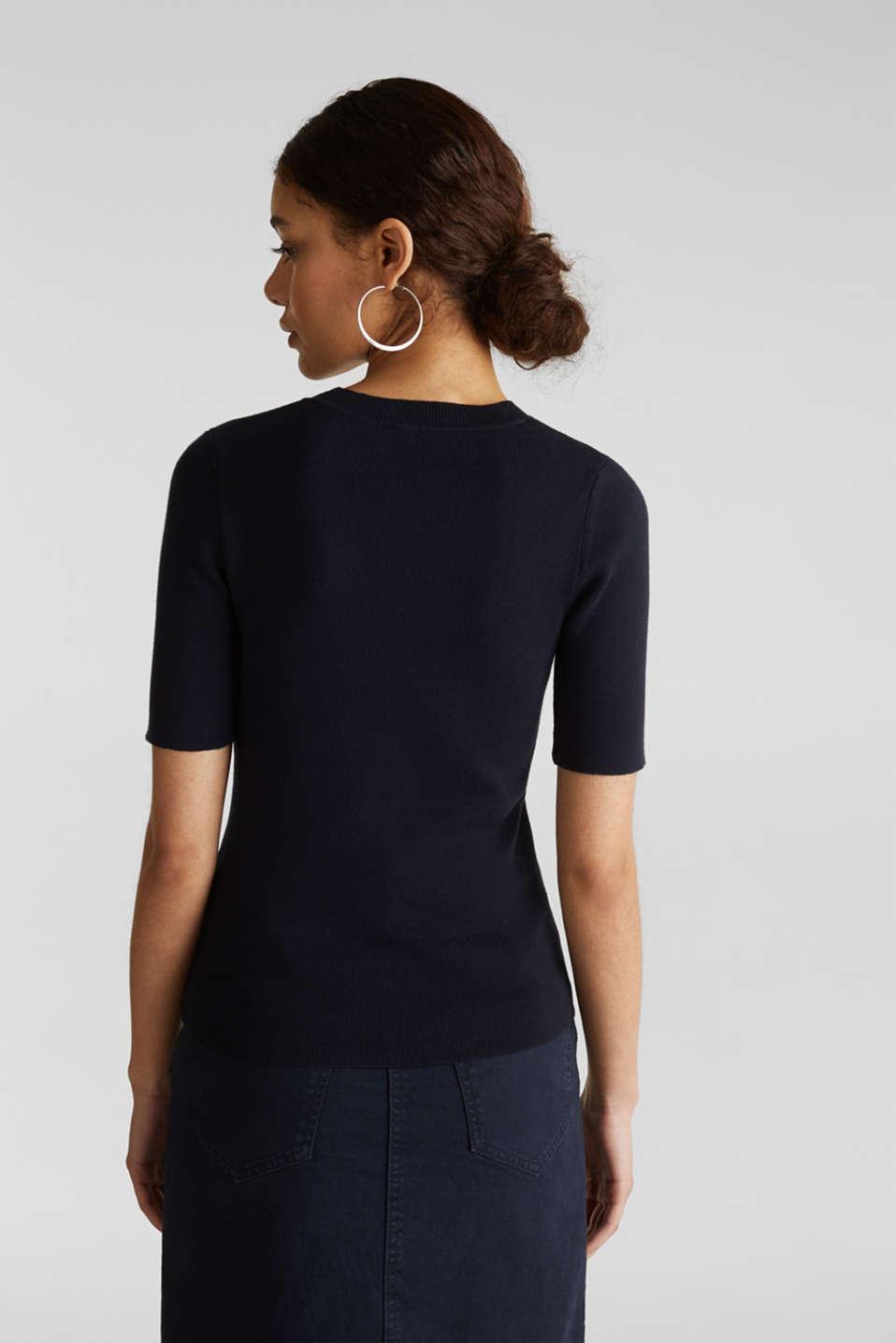 Short-sleeved jumper in blended cotton, NAVY, detail image number 3