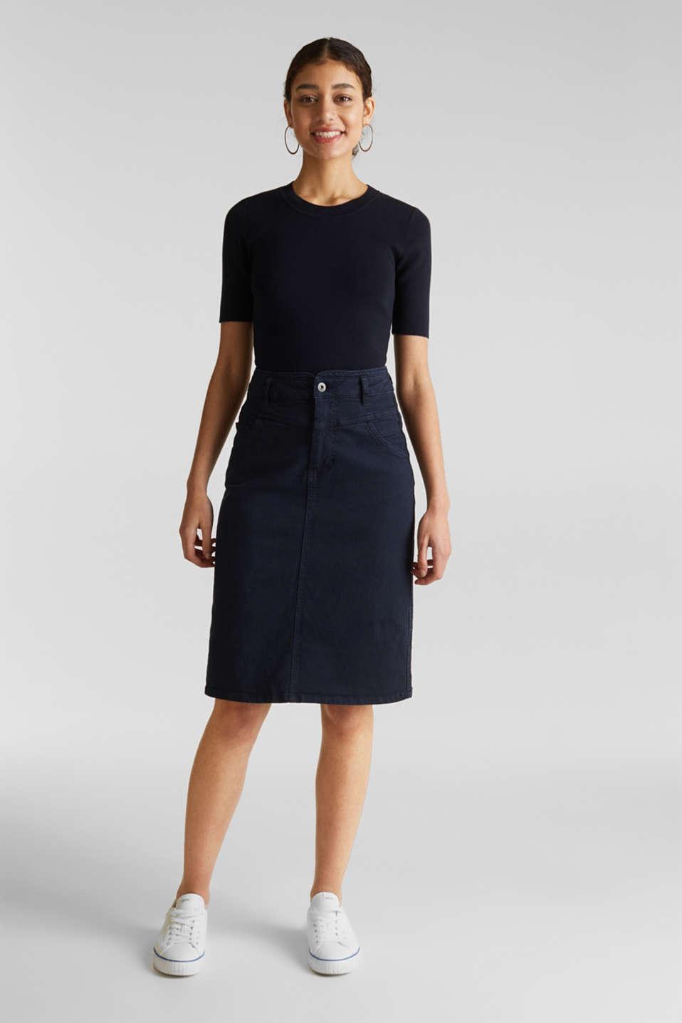 Short-sleeved jumper in blended cotton, NAVY, detail image number 5