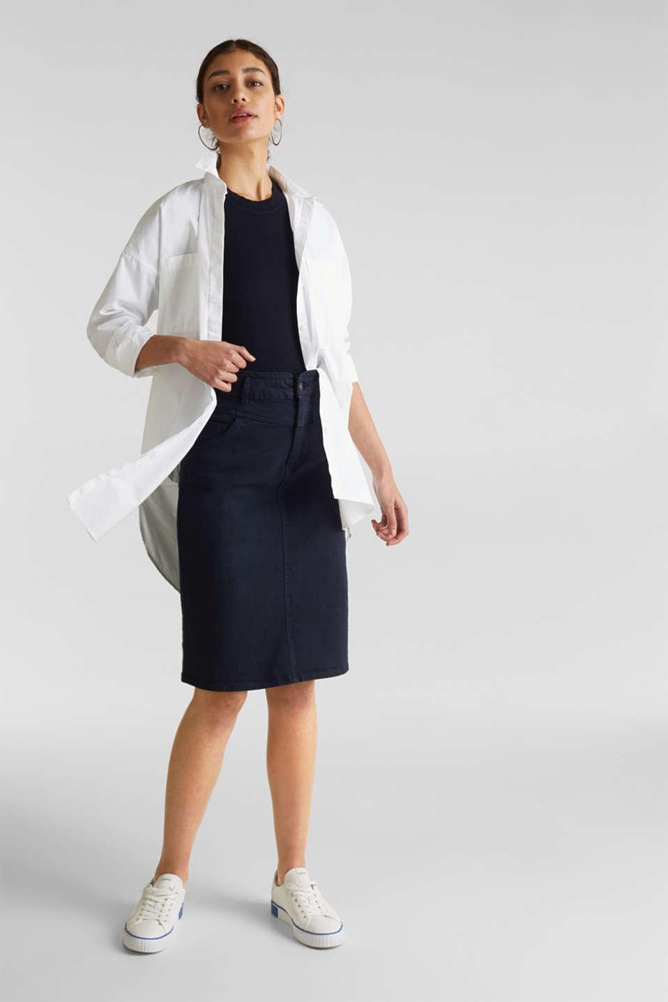 Short-sleeved jumper in blended cotton, NAVY, detail image number 1