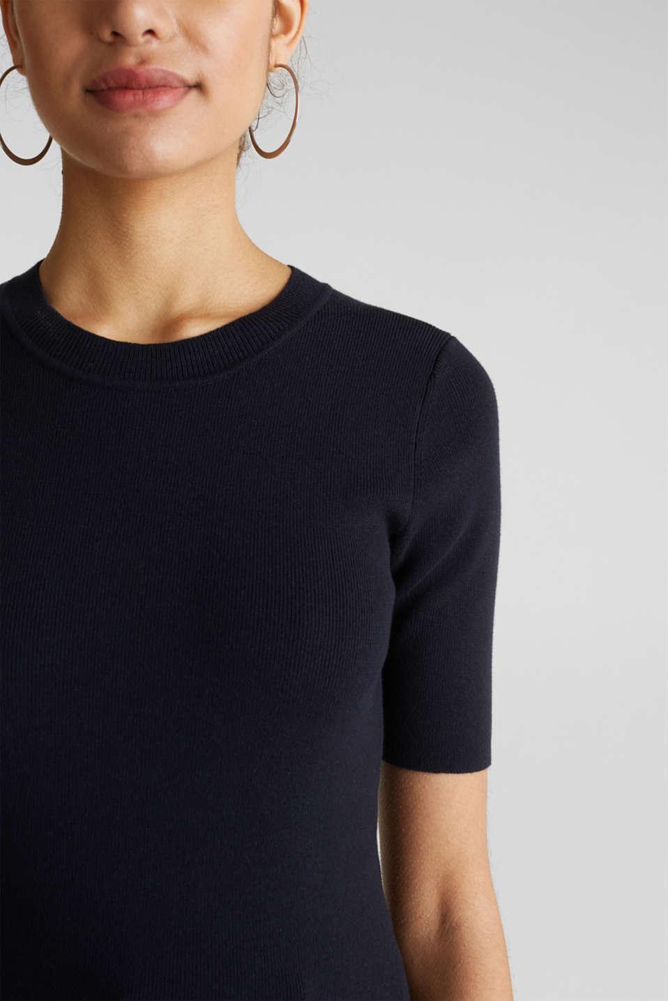 Short-sleeved jumper in blended cotton, NAVY, detail image number 2