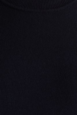Short-sleeved jumper in blended cotton, NAVY, detail