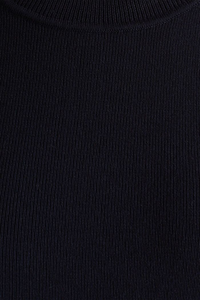 Kurzarm-Pullover aus Baumwoll-Mix, NAVY, detail image number 4