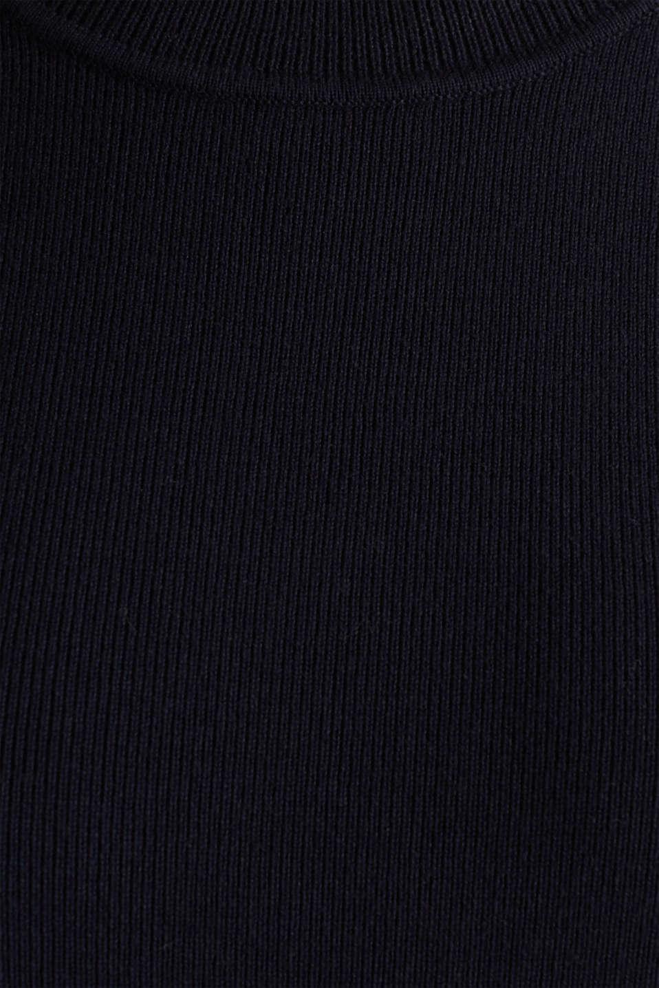 Short-sleeved jumper in blended cotton, NAVY, detail image number 4